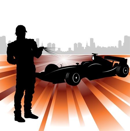 one object: formula and race car  Illustration