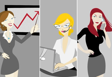 woman laptop: business women Illustration