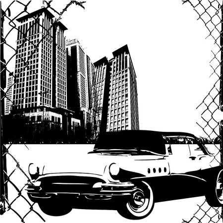 graffiti brown: grunge frame with exotic car vector Illustration