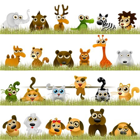 crazy cute: cartoon animals (big set)  Illustration