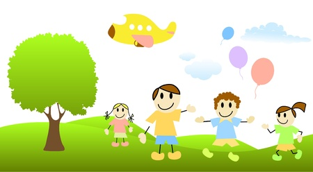 cartoon children with nature scene