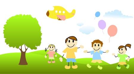 los niños de dibujos animados con escena de la naturaleza