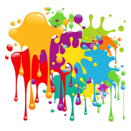 paint drips: Color paint splashes