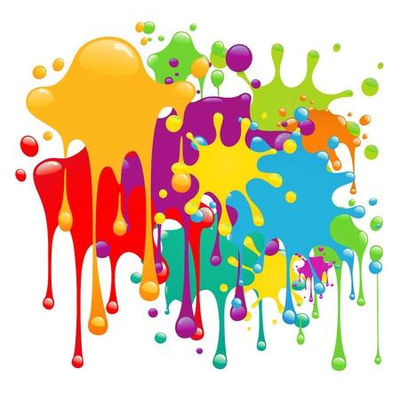 splatter: Pinceladas de pintura de color  Vectores