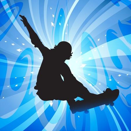 Jumping skateboarder  Illustration