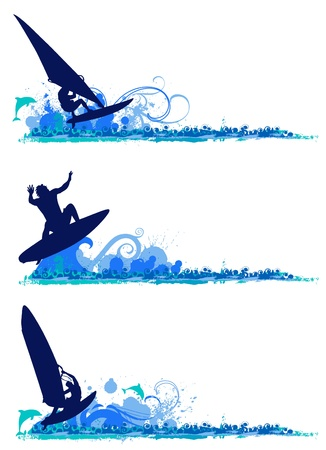 surfing design elements Stock Vector - 10330691