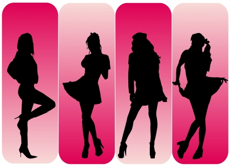 sexy woman silhouette: fashion woman set