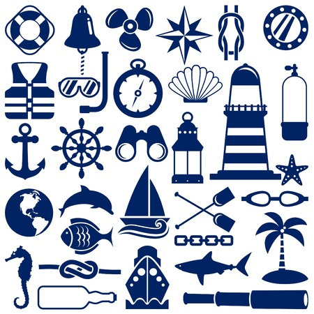 ancre marine: icônes nautiques  Illustration