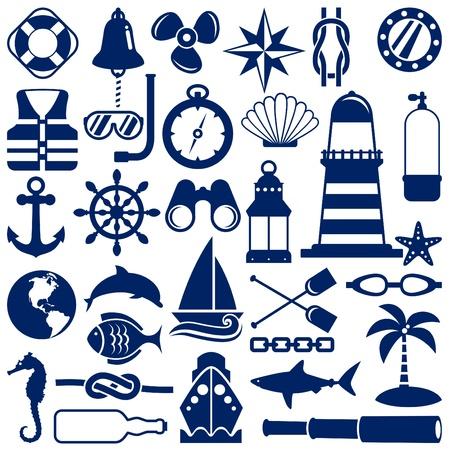nautical icons  Illustration
