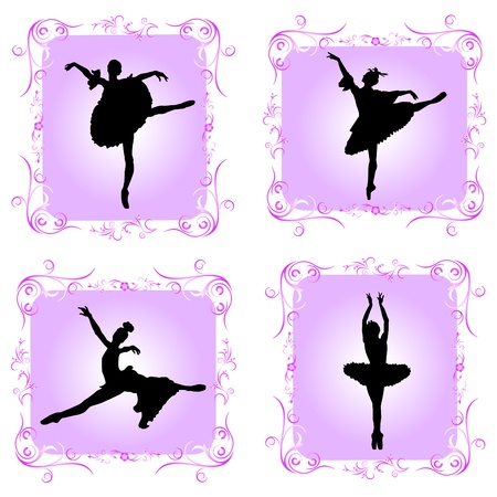 ballet dancers with decorative frame Stock Vector - 10330659