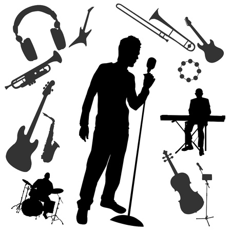 musician silhouette: music set