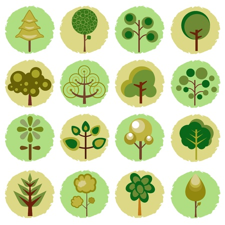 abstract tree icons  Stock Vector - 10330690
