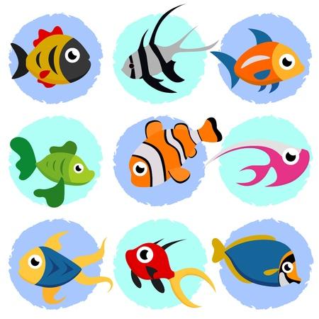 cartoon fish set  Vector