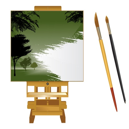 canvas with brushes  Vector
