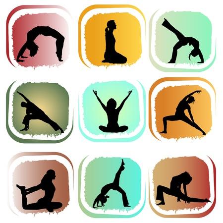 posiciones de yoga  Ilustración de vector