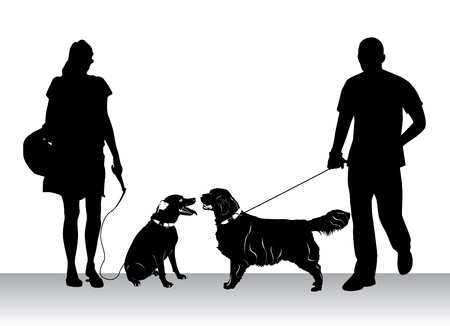 dog silhouette: people walking dogs Illustration