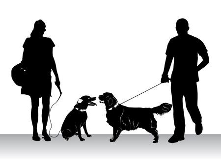dog on leash: perros poca gente