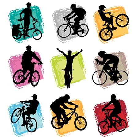 ni�os en bicicleta: conjunto de bicicleta