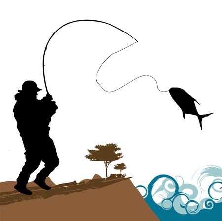 hombre pescando: Fisher con big fish