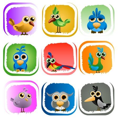veréb: rajzfilm madarak Illusztráció