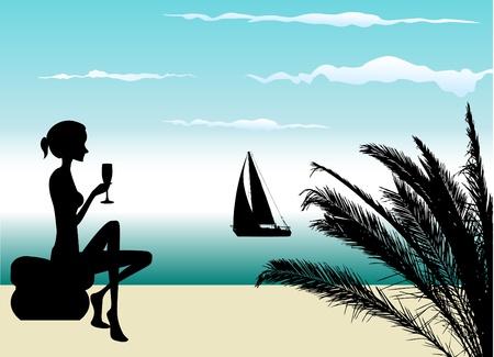 giovane donna che beve in spiaggia Vettoriali