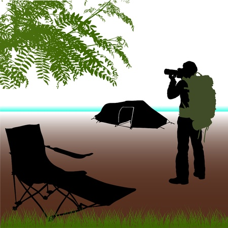camera operator: photographer with camping