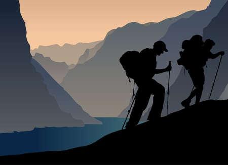 man hiking: climbers