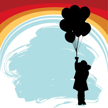 little girl with balloons  Vector