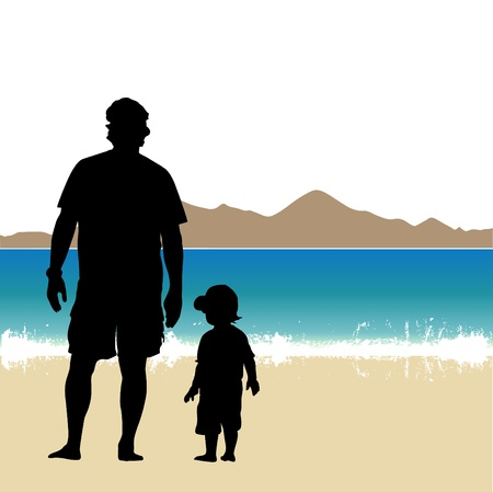 father and son on the beach Vector