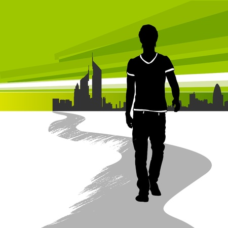 one way: running man in the city