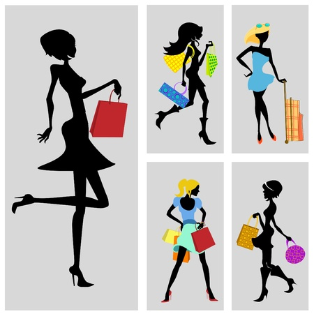 shopping woman set  Vector