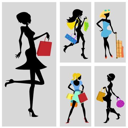 shopping cartoon: shopping woman set
