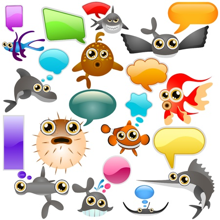marine life cartoon character set Vector