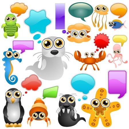 marine life cartoon character set Illustration