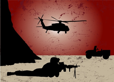 military silhouettes: war