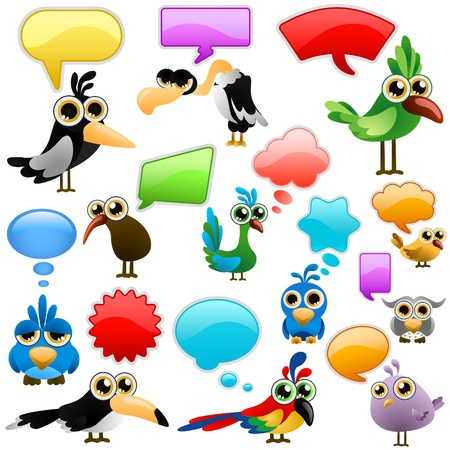 cartoon bird with bubbles  Illustration