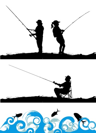 fishing line: fisher  Illustration