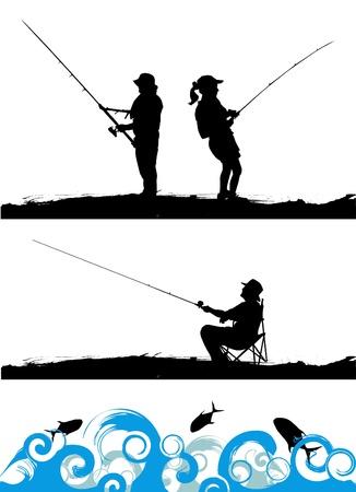 hengelsport: visser Stock Illustratie