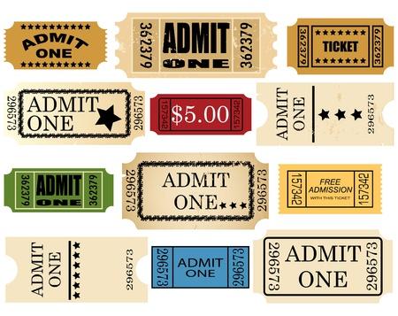 raffle ticket: admit ticket one set  Illustration