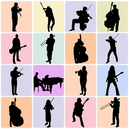 musician silhouette: music set