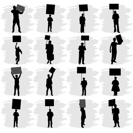 people holding sign: people holding sign  Illustration