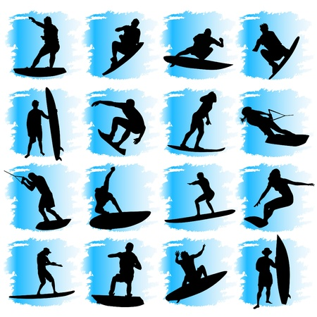 surf silhouettes: water sport set  Illustration