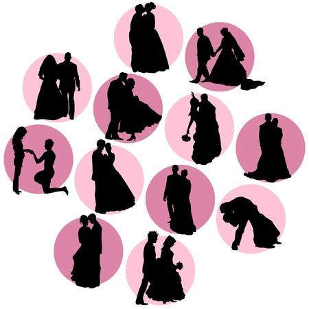 siluetas de enamorados: pareja de enamorados