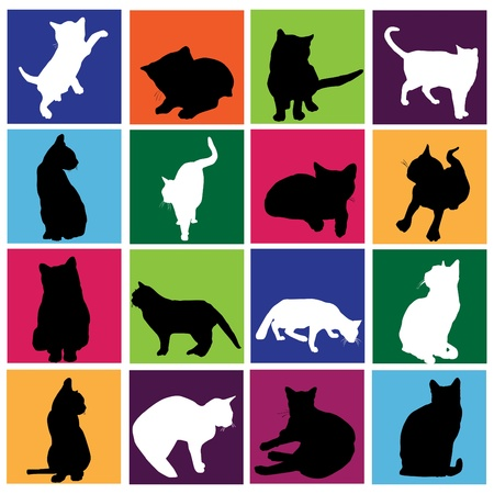 cat silhouette: cat set  Illustration