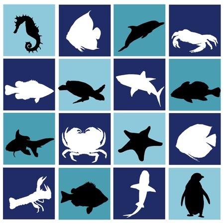 peces de agua salada: conjunto de vida marina  Vectores