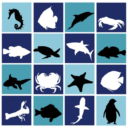 saltwater fish: la vita marina set Vettoriali