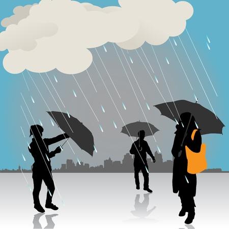 umbrella rain: peoples under the rain Illustration
