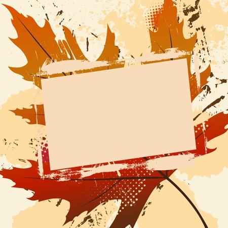 autumn leaf frame: Grunge marco con la hoja