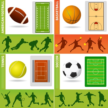 sport field, ball and design elements Vector