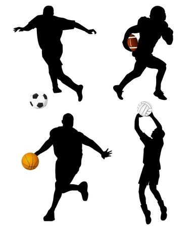 football silhouette: sport set